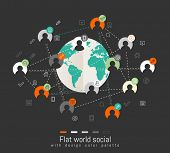Flat design concept with world map, icons and social network concept. Place for your logo
