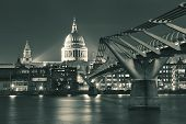 picture of london night  - Millennium Bridge and St Pauls Cathedral at night in London - JPG