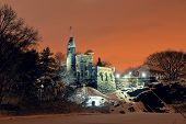 Central Park Belvedere Castle at night in winter in midtown Manhattan New York City