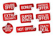 Hot super offer, sale stickers set.