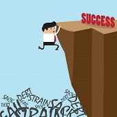 Businessman In Climbing The Cliff To Success Choice Or Failure