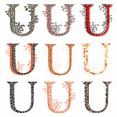 Various Combination Fishnet Letter U.