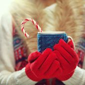 picture of hot-weather  - Woman holds a winter cup close up - JPG