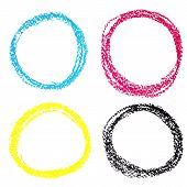 Set of CMYK circle spots of pastel crayon isolated on white background