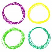 Set of Mardi Gras circle spots of pastel crayon isolated on white background
