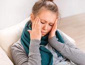 Headache. Young Woman having Headache. Sick. Flu