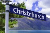 Christchurch sign on a beautiful landscape background