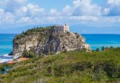 Church of Santa Maria dell'Isola located on the cliff. Tropea, Italy