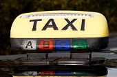 foto of cabs  - yellow sign of a french  taxi - JPG
