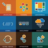 Software Development Life-cycle Process - Concept Vector Line Icons