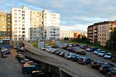 Vilnius City Evening View - Pasilaiciai District House And Car Parking