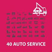 auto service, car repair service icons set