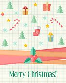 Christmas Card With Holly Berry And Christmas Icons