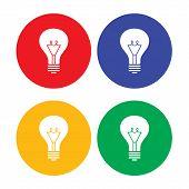 Flat simple light bulb icons