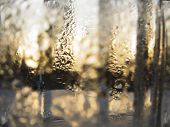 Abstract Glass Background - Water Condensation On The Cold  Glass Surface