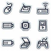 Electronics web icons set 2, deep blue contour sticker series