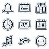Organizer web icons, deep blue contour sticker series