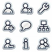 Users web icons, deep blue contour sticker series