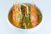 Tom Yum Goong,spicy Soup With Shrimp - Thai Cuisine On White Background