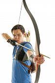 Boy Aiming With Bow An Arrow