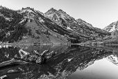 Black And White Maroon Bells Sunrise Aspen Colorado
