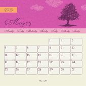 Calendar for May 2015 starting Monday, vector calendar set