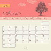Calendar for March 2015 starting Monday, vector calendar set