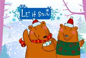 Seasonal greetings, illustration of cute bears playing snowballs.