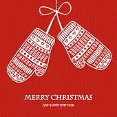 Christmas mittens on red knitted background. Vintage vector greeting card