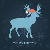 Christmas card with reindeer in Santa`s hat. Vintage vector illustration