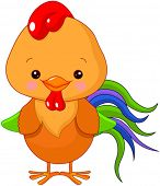 pic of cockerels  - Illustration of cute motley cockerel - JPG