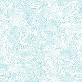 Hand-drawn Doodle Waves Floral Pattern, Abstract Blue Leaves And Flowers. Vector Seamless Background
