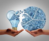 foto of lightbulb  - Investing in ideas business concept and financial backing of innovation as an open lightbulb symbol for funding potential innovative growth prospect through venture capital - JPG