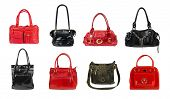 Set of handbags isolated on white background