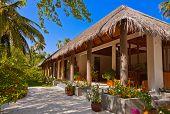 Lobby on Maldives island - nature travel background