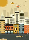 Helicopters over the New York. Vector