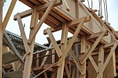 Timber beam formwork with timber support