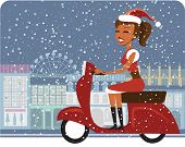 Santa girl riding red scooter