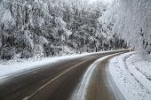 Mountain road in winter