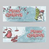 Set Of Horizontal Banners For Christmas And The New Year With A Picture Of A Snowman And Bullfinch O
