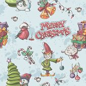 Seamless Texture To The Christmas And New Year With Snowman, Christmas Tree, Elf, Snigerev And Chris