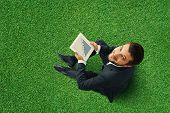 top view of smiley businessman sitting on the green grass and holding touch pad with growing graph