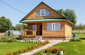 New Wooden House At The Countryside In Summertime