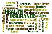 Health Insurance word cloud on white background