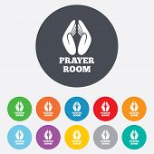 stock photo of priest  - Prayer room sign icon - JPG