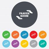 Prayer room sign icon. Religion priest symbol.