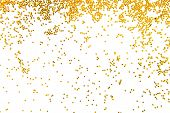 golden glitter falling isolated on white