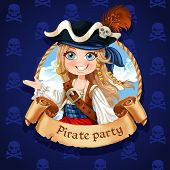Cute Girl Pirate. Banner For Pirate Party