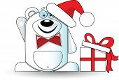 Cute illustration of christmas white bear with gift box.