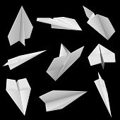 Paper planes on black background illustration.